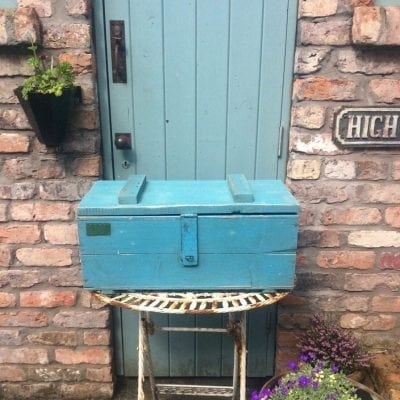 Lovely old blue chippy wooden trunk
